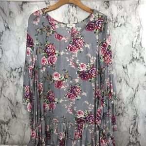 Umgee Blouse Top Floral Ruffles Top Size Small